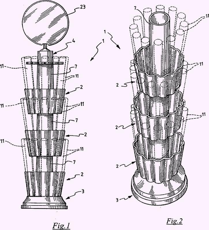 Unidad modular de exhibición para productos cilíndricos, en particular tubos de dulces y elementos modulares para la composición de estos.