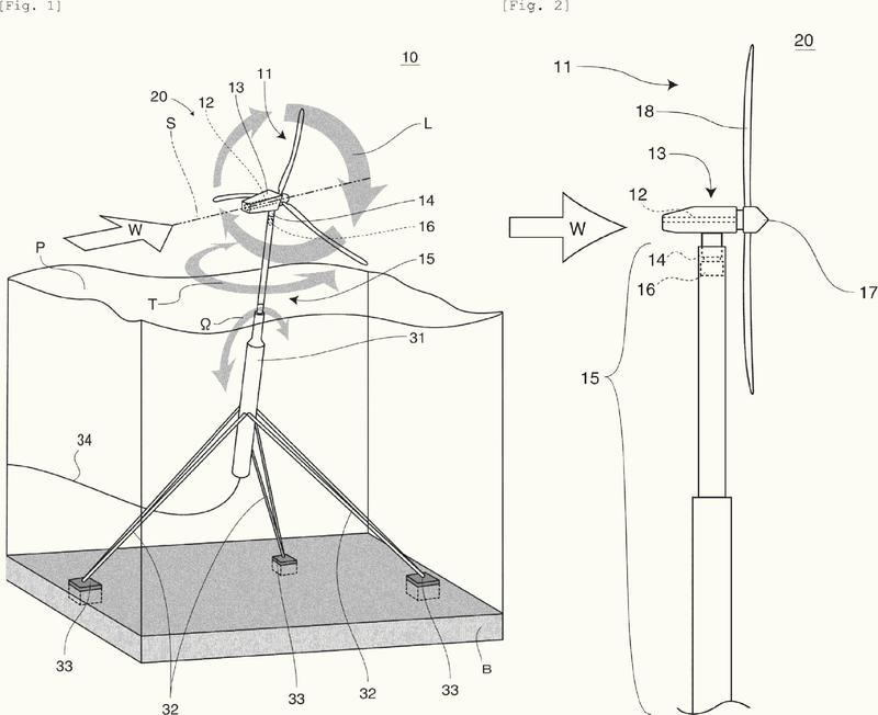 Turbina eólica flotante que comprende medios de supresión de guiñada.