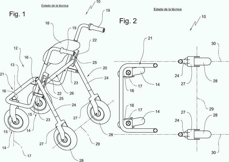 Andador rollator con accionamiento eléctrico.