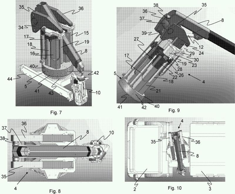 Dispositivo de elevación para un vehículo de carga para el vaciado de colectores de residuos.