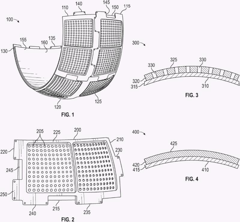 Pantalla de proyección curva modular.