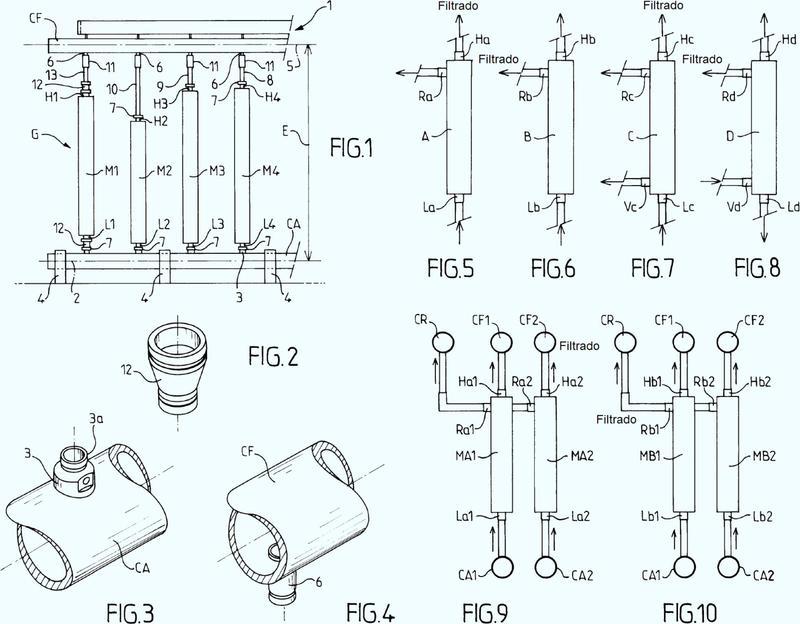 Equipo de filtración que incluye módulos de filtración de membranas y conjunto de módulos para tal equipo.