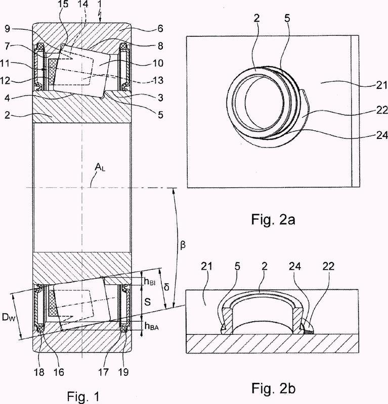 Rodamiento de rodillos de contacto angular así como procedimiento y dispositivo para su montaje.