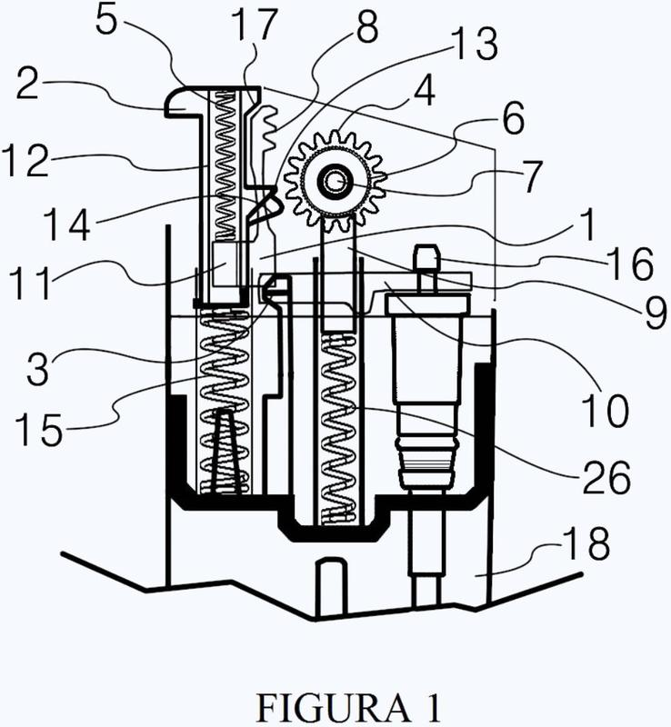 Mecanismo de encendido con pedernal de tipo botón pulsador capaz de reajuste automático.