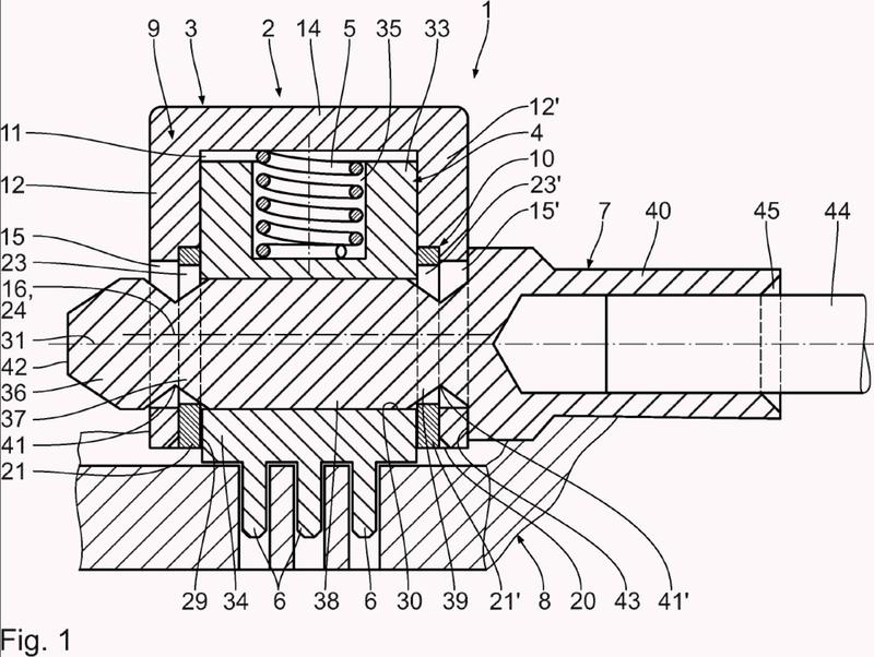 Dispositivo de contacto para la transmisión de energía eléctrica a una placa de circuito impreso y procedimiento para el montaje de un dispositivo de contacto de este tipo.