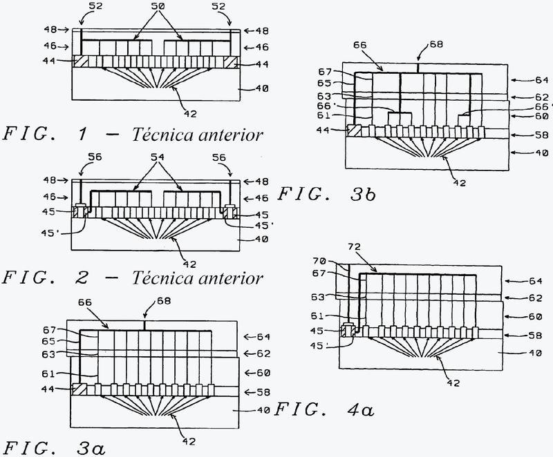 Esquemas de interconexión posterior a la pasivación en la parte superior de los chips IC.