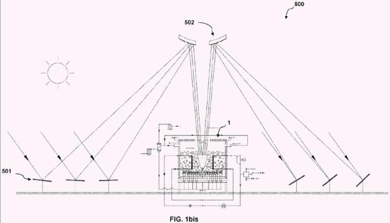 Dispositivo, planta y procedimiento energéticamente eficientes de alto nivel para la utilización de energía térmica de origen solar.