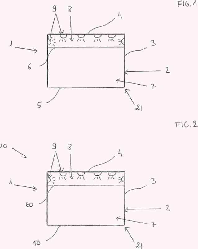 Estructura de banda estirada para producir un falso techo o una caja de techo suspendida.