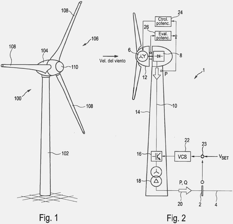 Procedimiento y dispositivo para alimentar con energía eléctrica una red de suministro eléctrico.