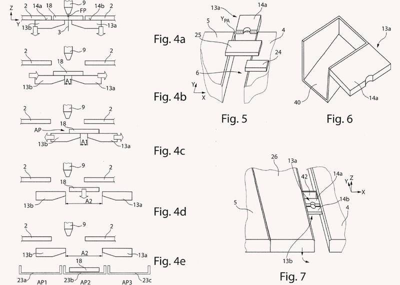 Máquina para el mecanizado de separación de piezas de trabajo en forma de placa y su uso.