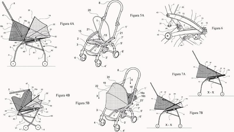Cochecito plegable adaptable para el transporte de recién nacidos.
