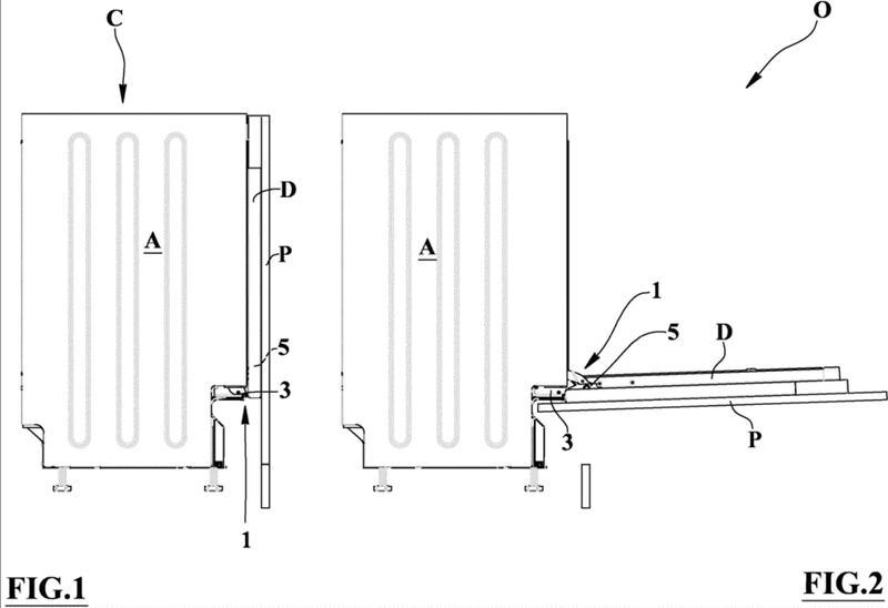 Dispositivo de bisagra con carrera larga de vaivén de un panel frontal.