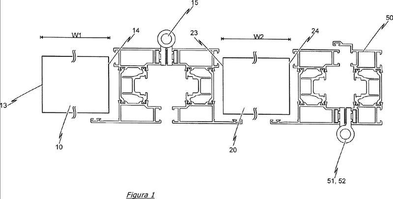 Ensamble de estructura de bastidor y un primer elemento de superficie guiado de manera deslizable y un segundo elemento de superficie.