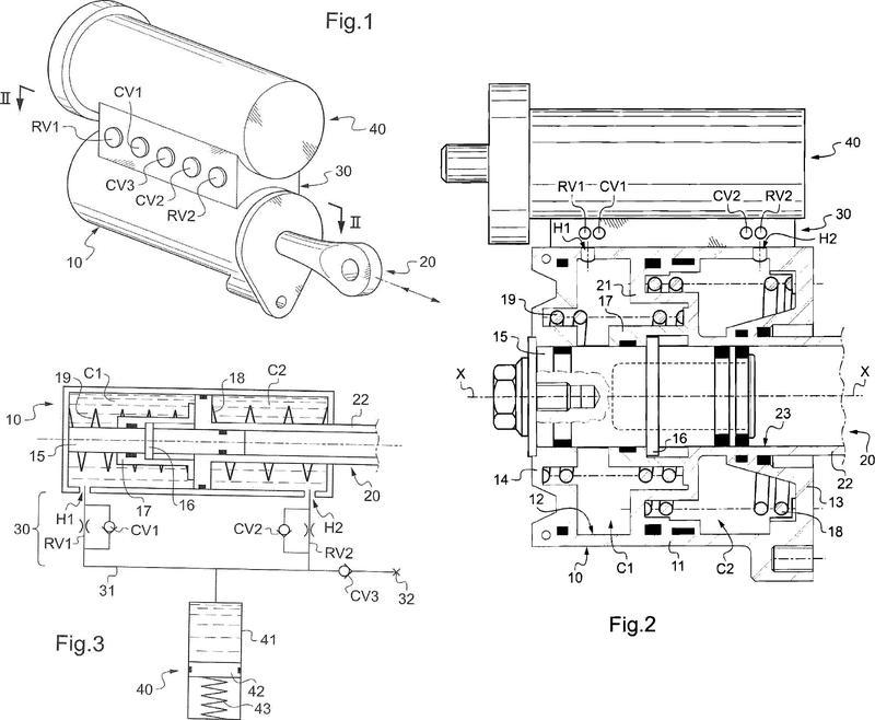 Amortiguador de vibraciones hidráulico para un tren de aterrizaje de avión.