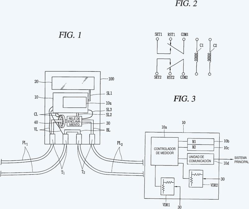 Contador de energía eléctrica que puede monitorizar un estado de contacto de un relé de enclavamiento.