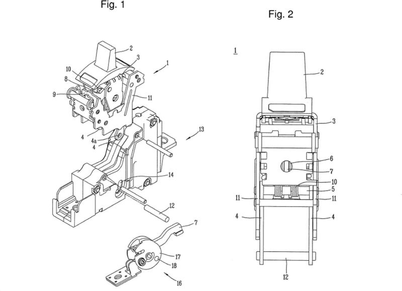 Estructura de acoplamiento de mecanismo de disyuntor de caja moldeada.