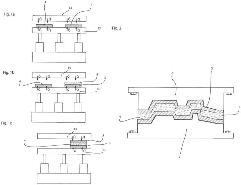 Procedimiento para producir una estructura plana en una realización de estructura ligera de tipo sándwich.