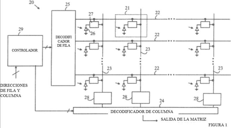Amplificador de columna de ganancia variable para su uso en matrices de formación de imágenes.