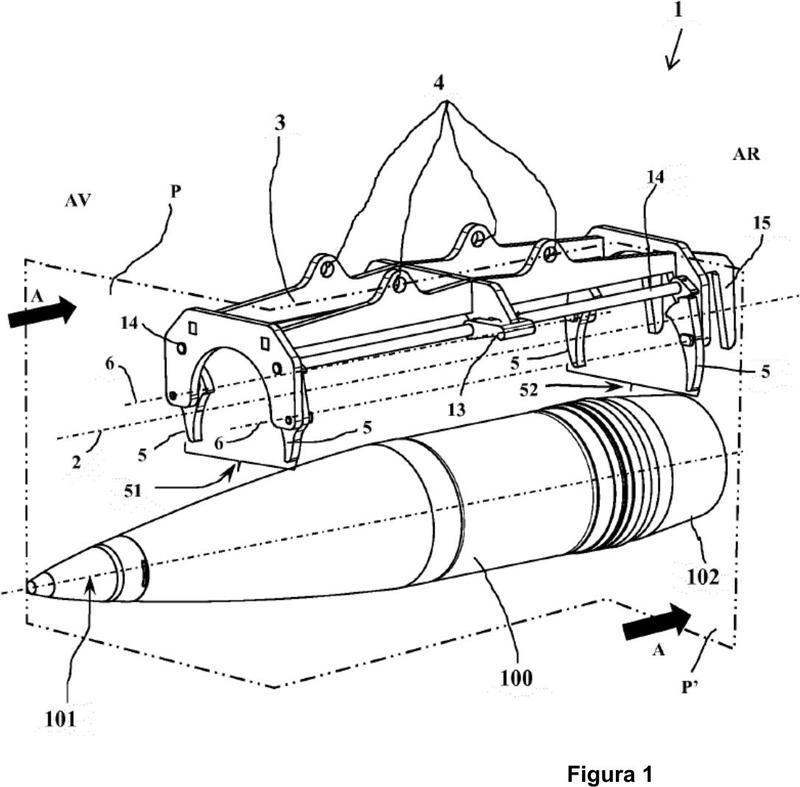 Dispositivo de agarre de obuses y soporte asociado.