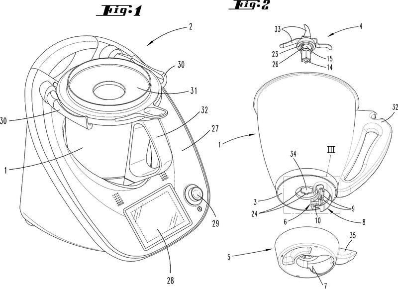 Vaso de batido para una máquina de cocina accionada por motor eléctrico.