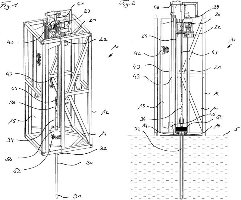 Dispositivo de perforación submarino y procedimiento para obtener y analizar muestras de fondo de un fondo de masa de agua.