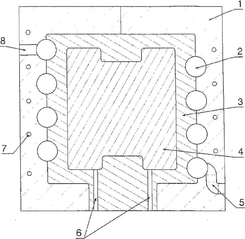 Dispositivo para la colada de hierro fundido en una coquilla.