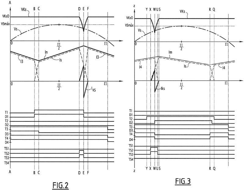 Convertidor reversible controlado monofásico CA-CC con amortiguador de baja pérdida.