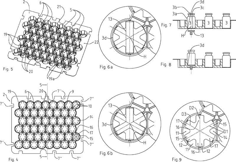 Estructura de envasado para recipientes de uso farmacéutico.