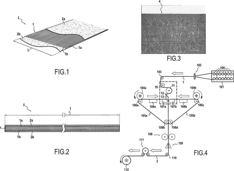 Procedimiento de fabricación de una cinta de filamentos de anchura constante para la realización de piezas compuestas por procedimiento directo y cinta correspondiente.