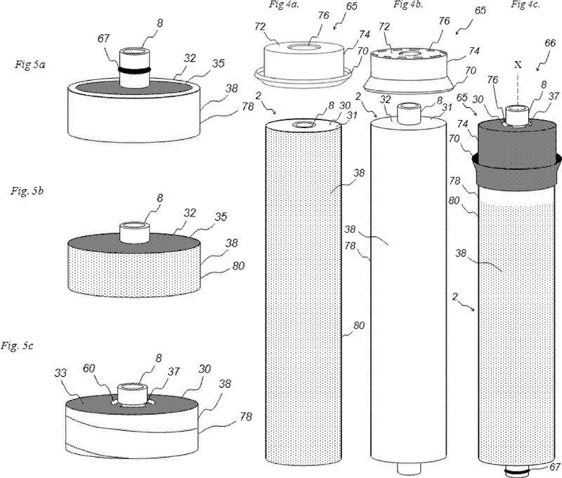 Ensamblaje de filtro que incluye módulo de membrana en espiral y sello de salmuera.
