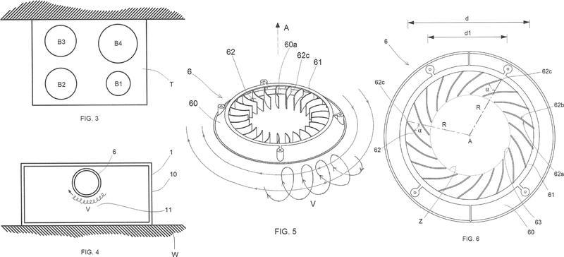 Campana extractora de cocina con flujo en espiral.