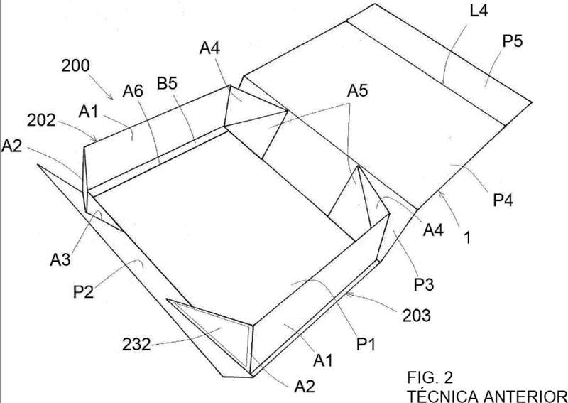 Caja paralelepípeda plegable.