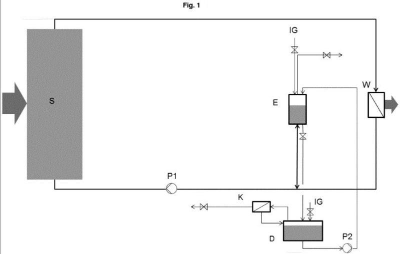 Procedimiento para la separación de gas a partir de fluidos portadores de calor a alta temperatura en centrales térmicas solares.