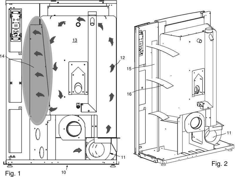 Sistema de difusión de calor de un producto para calefacción alimentado por biomasa.