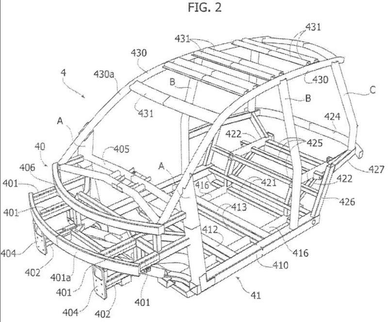 Vehículo de motor eléctrico para el transporte de mercancías constituido por un cuerpo rotomoldeado sostenido por un bastidor tubular modular.