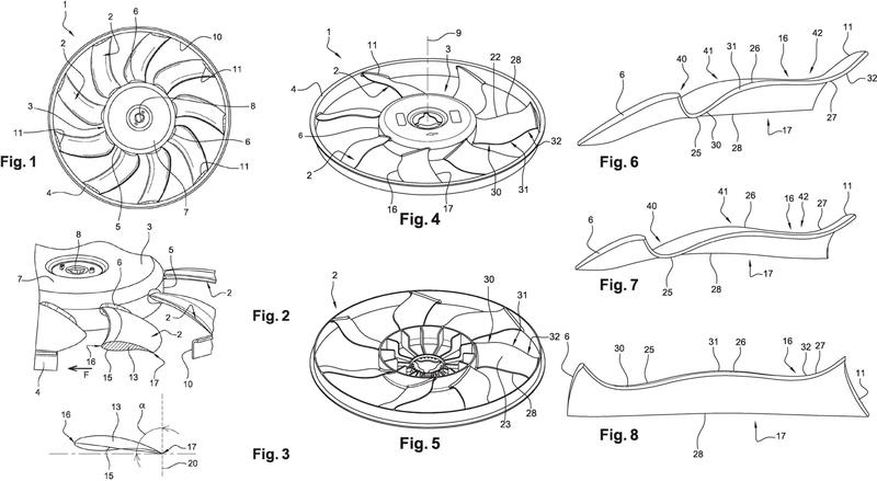 Hélice para ventilador cuyo ángulo de ajuste varía.