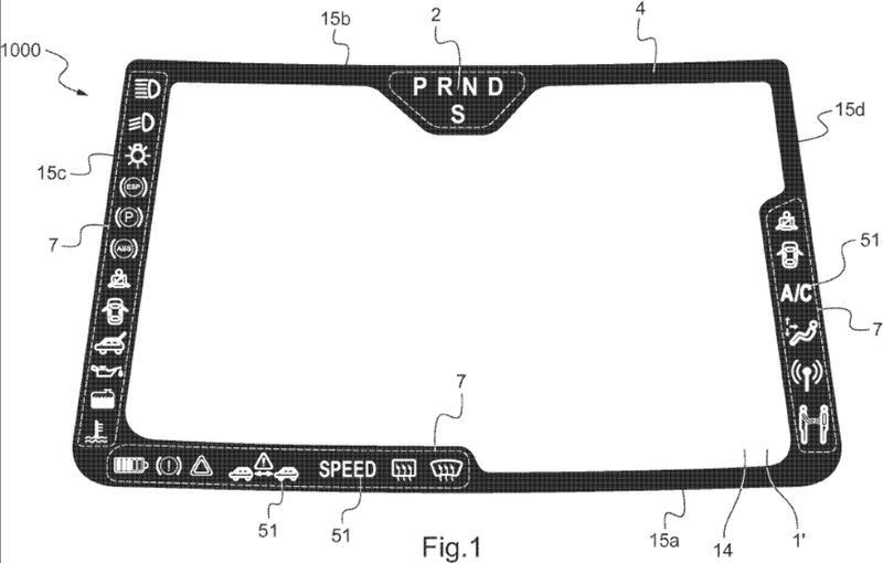Parabrisas laminado de vehículo con señalización luminosa interna.