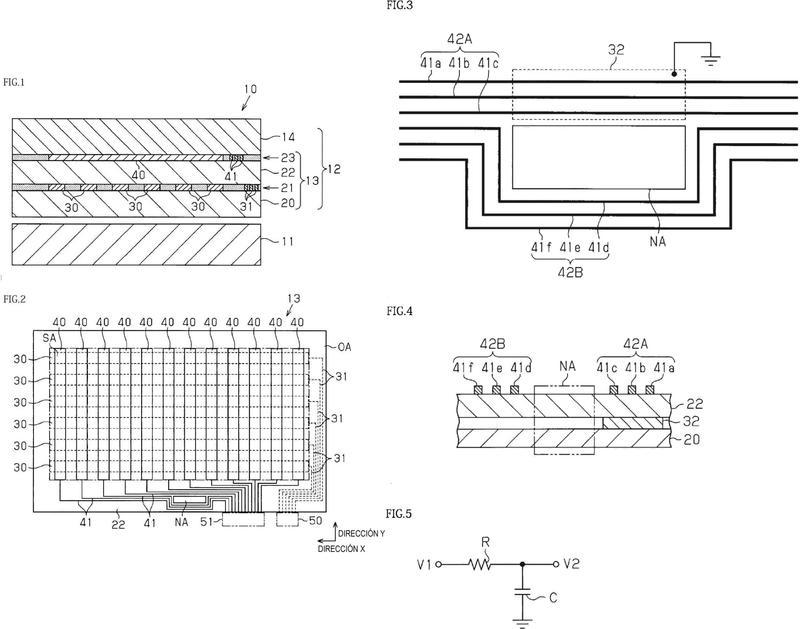 Producto en capas conductor transparente, panel táctil y dispositivo de visualización.