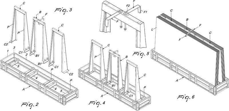Contenedor para elementos de tipo placa de gran formato dispuestos en una orientación inclinada.