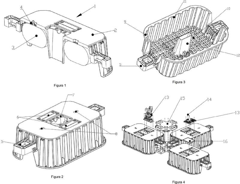 Módulo flotante para plataformas modulares de paneles solares.