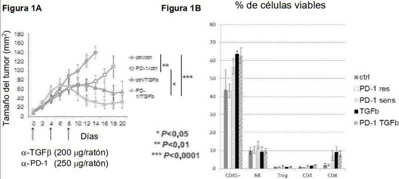 Tratamiento del cáncer usando inhibidores de TGF-beta y PD-1.