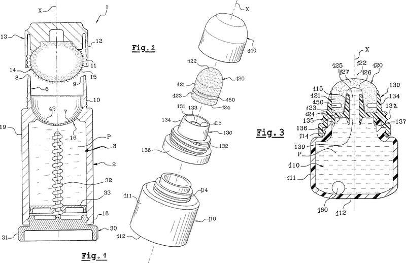 Dispositivo que comprende una composición de lápiz labial líquida en la forma de una emulsión inversa y un miembro de aplicación poroso.