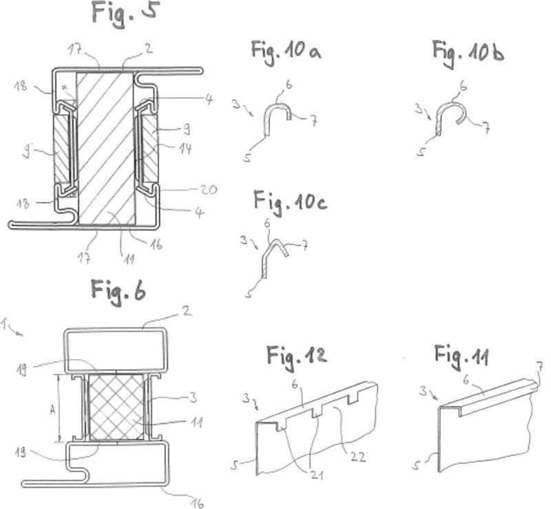Perfil compuesto y método para la fabricación de un perfil compuesto para marcos de elementos de pared, puertas o ventanas.