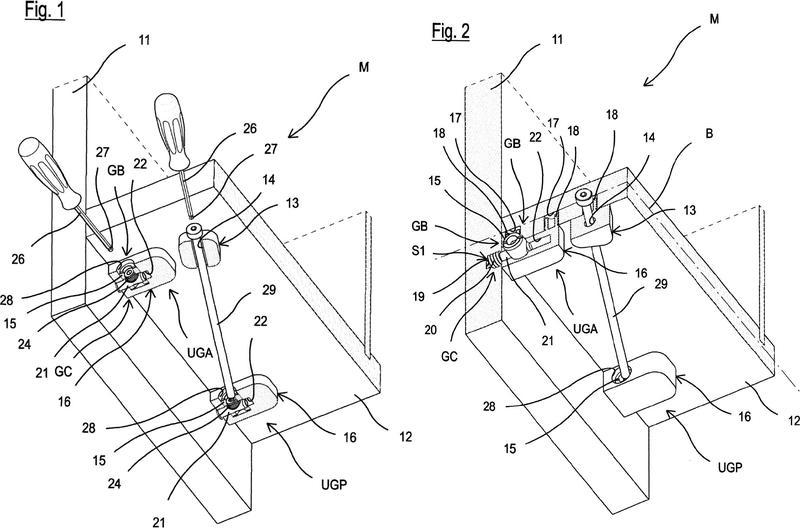 Sistema de unión oculto con activación frontal para la parte inferior de un mueble y de artículos de mobiliario.