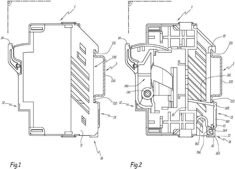 Dispositivo eléctrico que comprende un dispositivo de bloqueo para un riel de fijación.