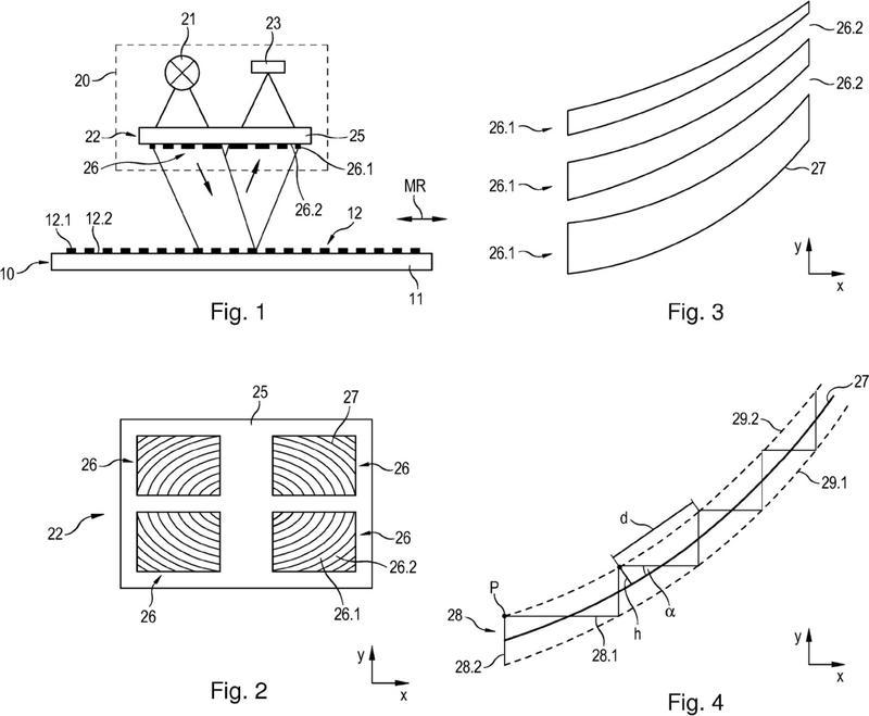 Estructura de malla para un dispositivo óptico de medición de posición.